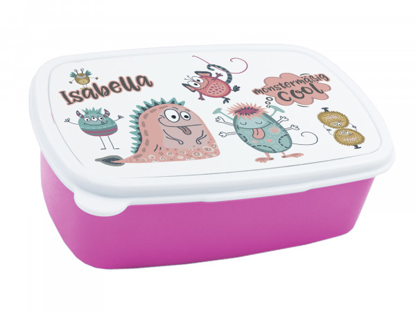 Brotdose für Mädchen, personalisiert mit Namen Monster