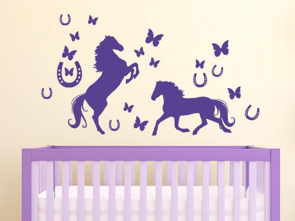 Wandtattoo Wohnzimmer Set Pferde Hufeisen Schmetterlinge