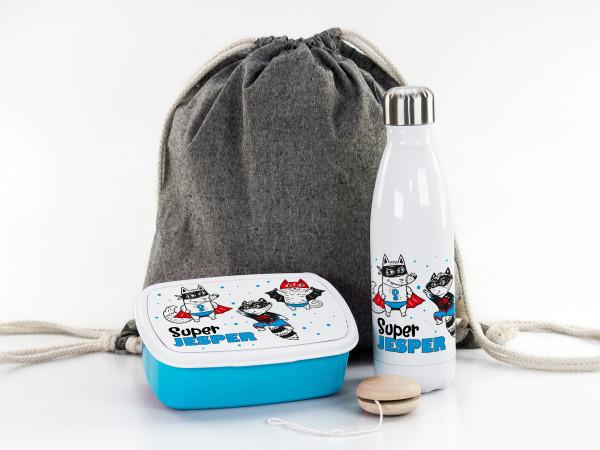 Geschenkset für Jungen, Sportbeutel, Brotdose, Trinkflasche mit Supermann
