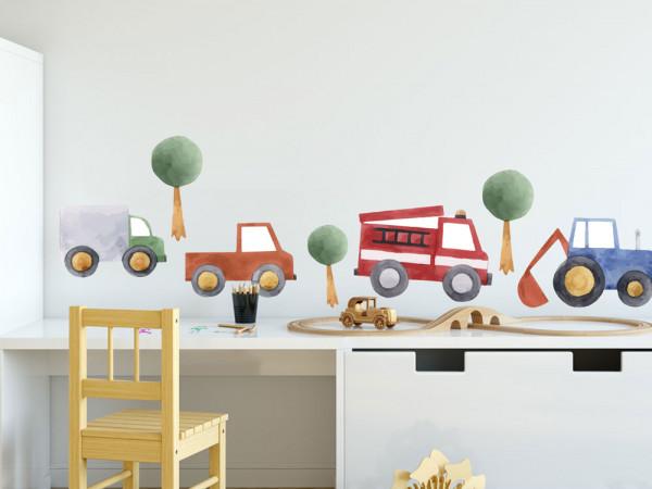 Wandtattoo Autos Kinderzimmer, Wandaufkleber Bäume für Jungen, Deko für Babyzimmer Baby Jungenzimmer Jungs, Aquarell