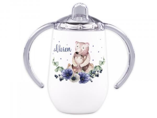 Trinklernbecher mit Griff für Babys personalisiert - Bär mit Babybär