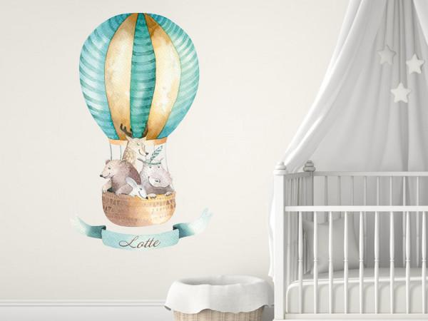 Wandtattoo Heißluftballon Waldtiere mit Namen