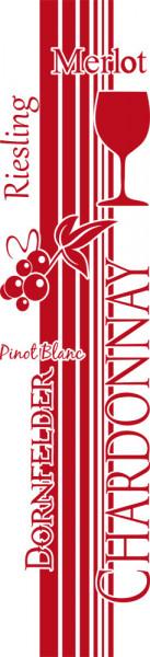 Wandtattoo Wandbanner Weinsorten mit Weinglas