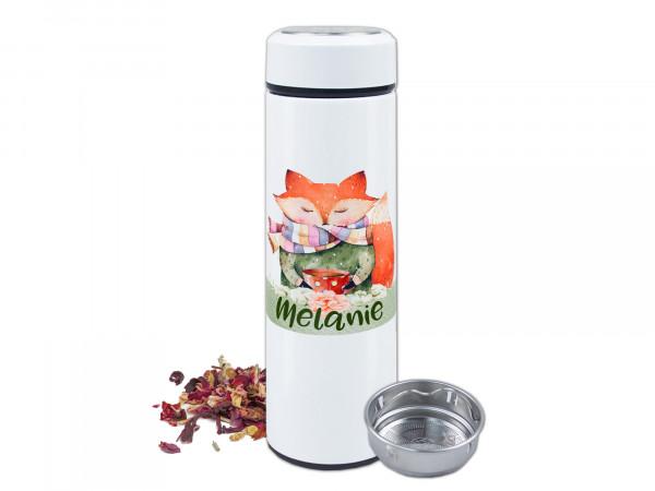 Teeflasche Thermoflasche mit Siebeinsatz, Süßes Fuchs