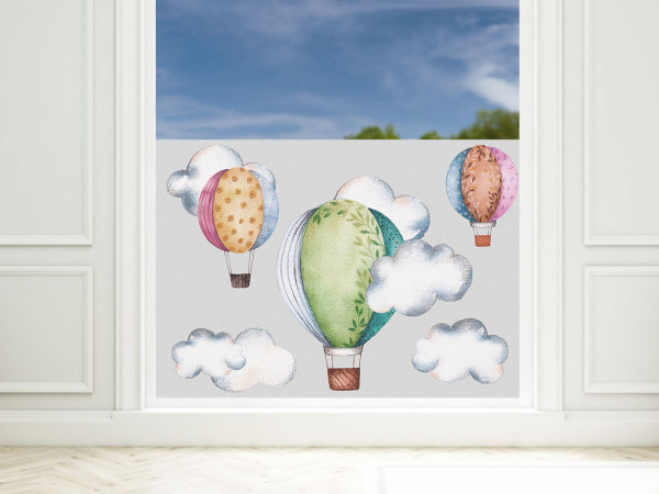 Sichtschutzfolie Kinderzimmer türkis Heißluftballon, Fensterfolie