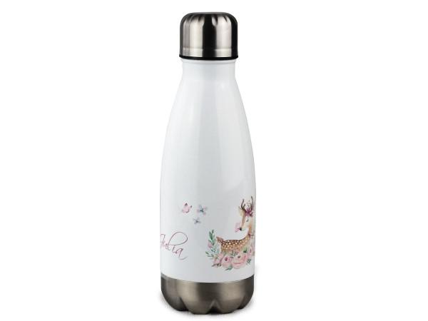 Trinkflasche mit Namen für Mädchen, personalisiert Reh mit Blumen