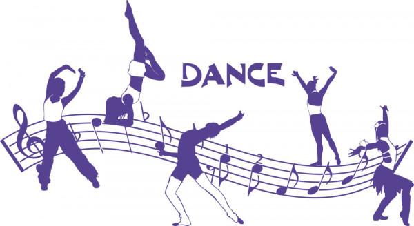 Wandtattoo Dance Tänzer Tanzen mit Noten
