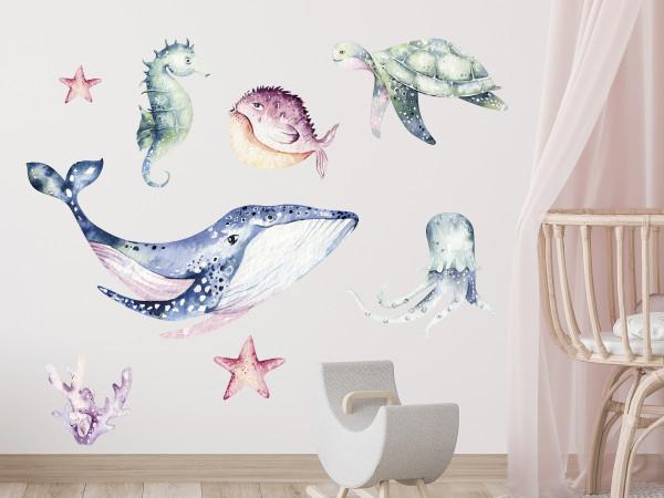 Wandtattoo Set Fische und Meeresbewohner für Kinderzimmer, Badezimmer
