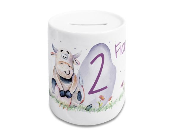 Spardose Kinder personalisiert mit Name und Zahl für Mädchen, Geschenk zum Geburtstag, Kuh auf Wiese