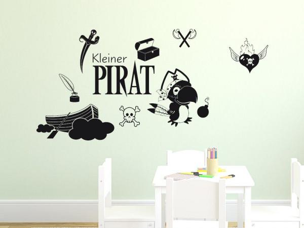 Wandtattoo Set für Kinderzimmer Pirat Spruch Papagei Jungs