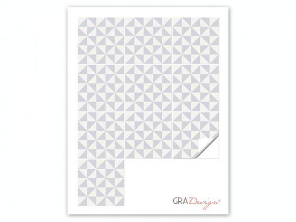 Fliesenaufkleber Set Dreiecke creme grau