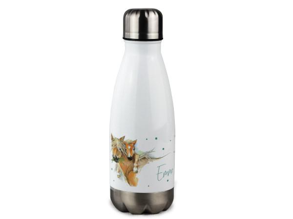 Trinkflasche personalisiert mit Namen, Pferd mit Fohlen