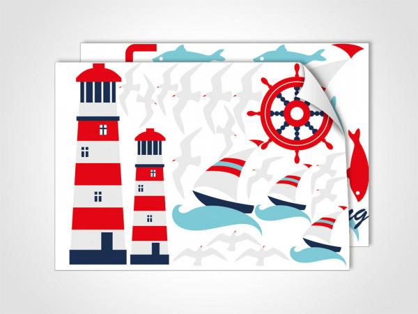Wandsticker Sticker DIN A4 Set für Badezimmer Maritim Leutturm Möwen Segelboote