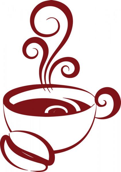 Wandtattoo Tasse mit Kaffee und Schnörkel Küche