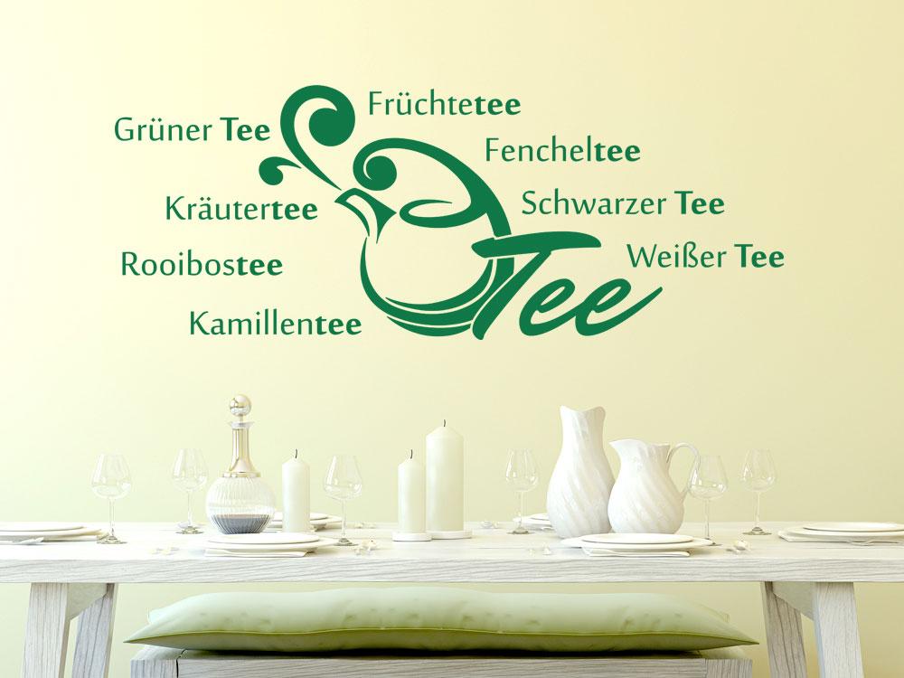 Wandtattoo für Küche Sprüche Tee Teesorte | Kaffee und Tee | Küche ...