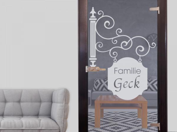 Fenstertattoo personalisiert, Familie mit Namen, als Fensterbild
