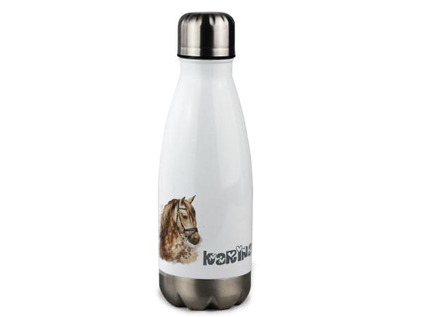 Trinkflasche personalisiert mit Namen, Pferd braun