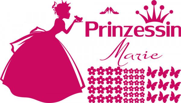 Wandtattoo Set Prinzessin mit Namen