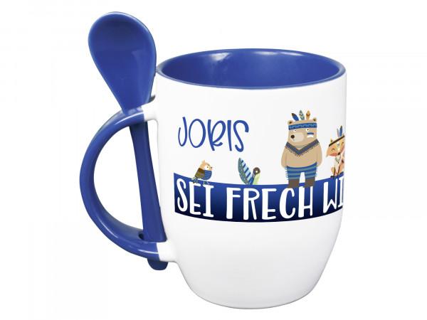 Tasse mit Löffel personalisiert mit Namen und Waldtiere