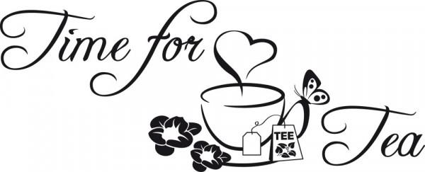 Wandtattoo Wandspruch Time for Tea im floralen Design