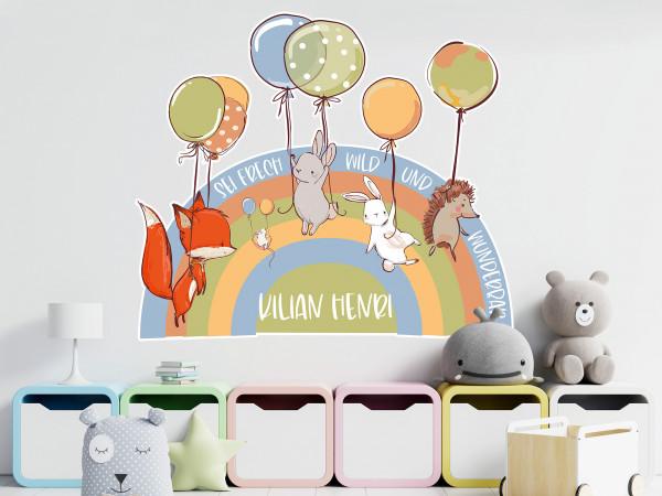 Wandtattoo Regenbogen Waldtier, Luftballons und Name