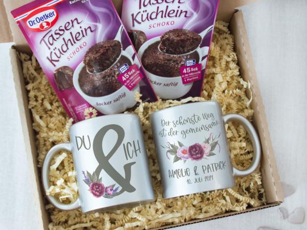 Geschenk Set Du & Ich, Tassen mit Tassenkuchen, personalisiert