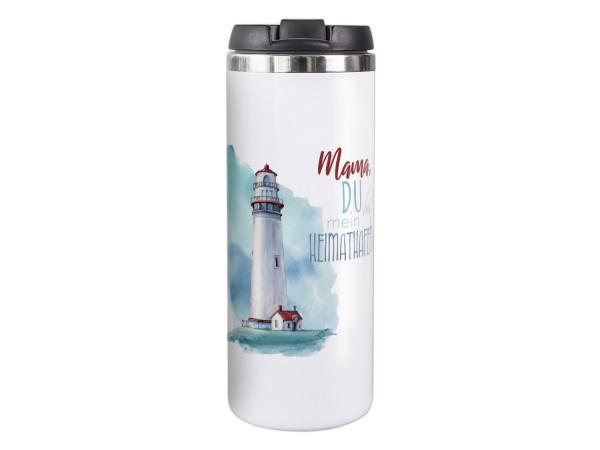 Thermobecher weiß Mama Heimathafen, Geschenk für Mama, Coffee to go Becher, Isolierter Thermo-Tasse, Weihnachten Geburtstag Muttertag