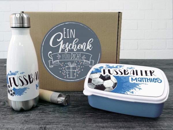 Geschenkbox Fußballer, Trinkflasche und Brotdose mit Namen