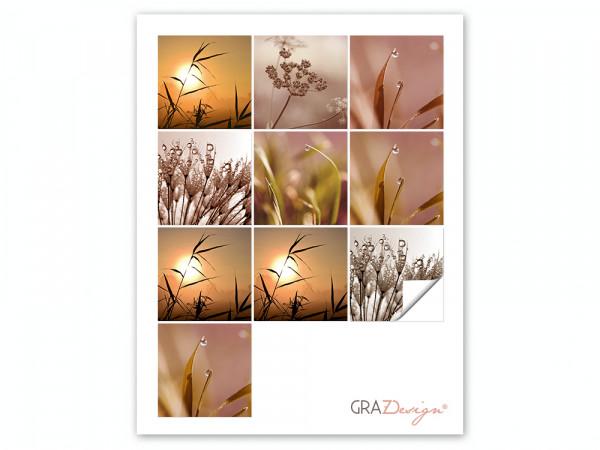 Fliesenaufkleber Set für Bad Sonnenuntergang Gräser Tropfen