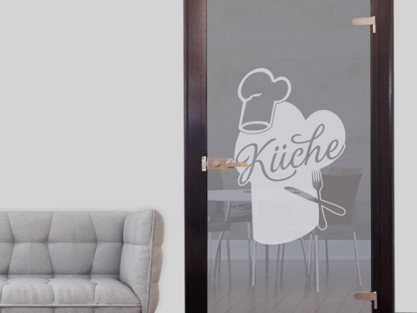 Glastür Aufkleber Fensterfolie für Küche Kochmützen Besteck