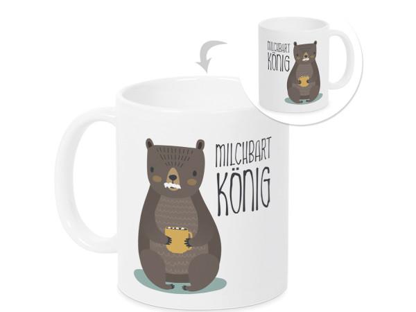 Tasse Milchbart König Geschenk Kakaobecher