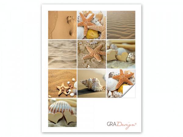 Fliesenaufkleber Set für Bad Sand Strand Meer Urlaub