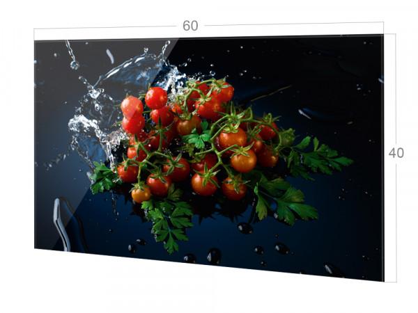 Spritzschutz Küche Glas Schwarz Rot, Tomaten
