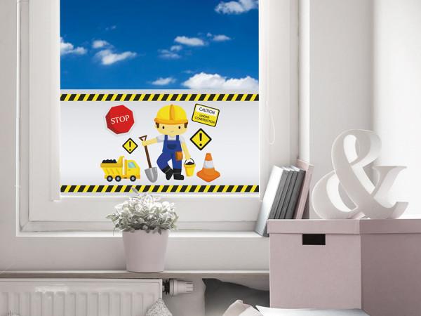 Sichtschutzfolie Kinderzimmer Baustelle Schild