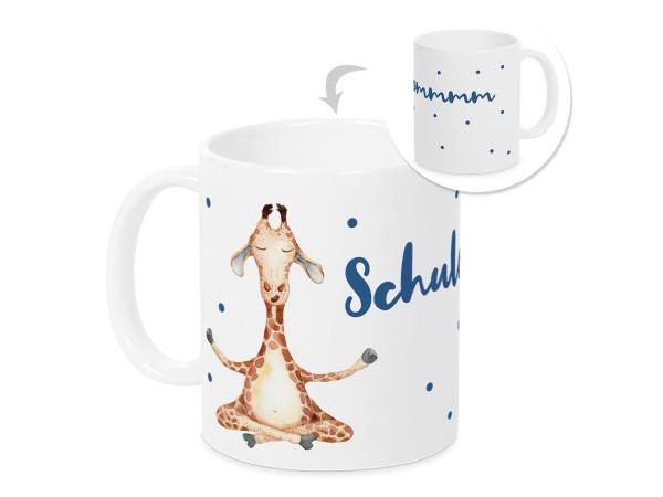 Tasse Einschulung Junge - lustige Giraffe - Geschenk für Schulkind
