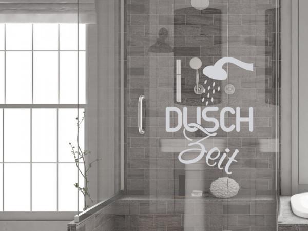 Fensterfolie für Badezimmer Dusch Zeit als Glastattoo