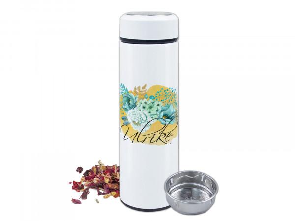 Teeflasche Thermo mit Sieb, Blumen in türkis