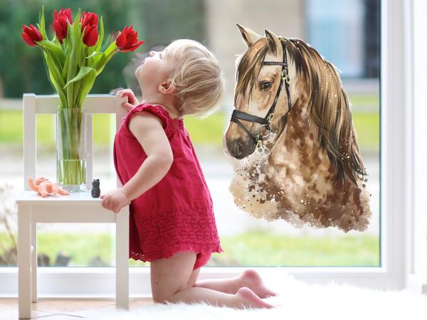 Fensterfolie Pferd braun für Kinderzimmer