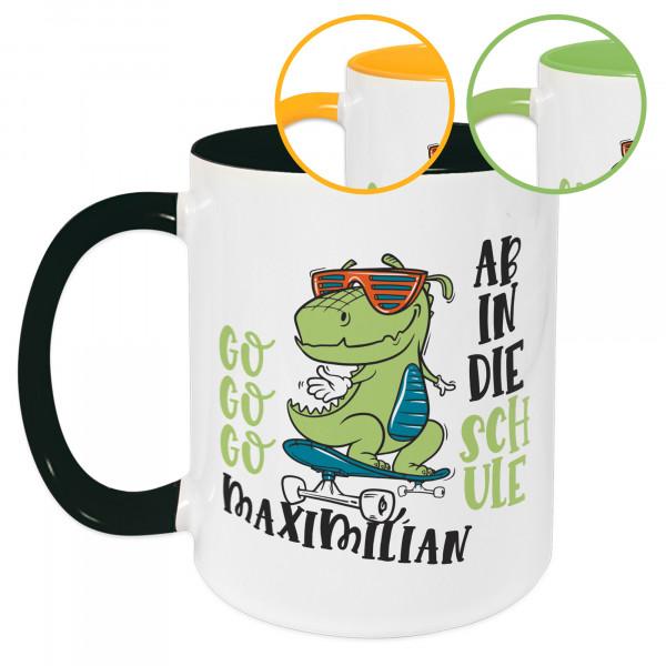 Tasse Kinder Einschulung, Wunschname und Datum, Skater Krokodil mit Spruch