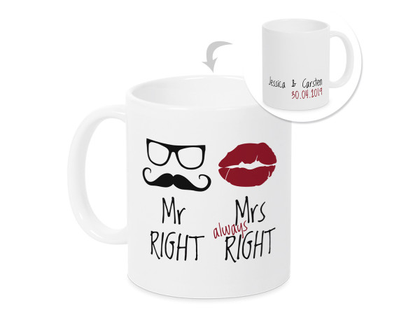 Hochzeitstasse Kaffeebecher Mr & Mrs