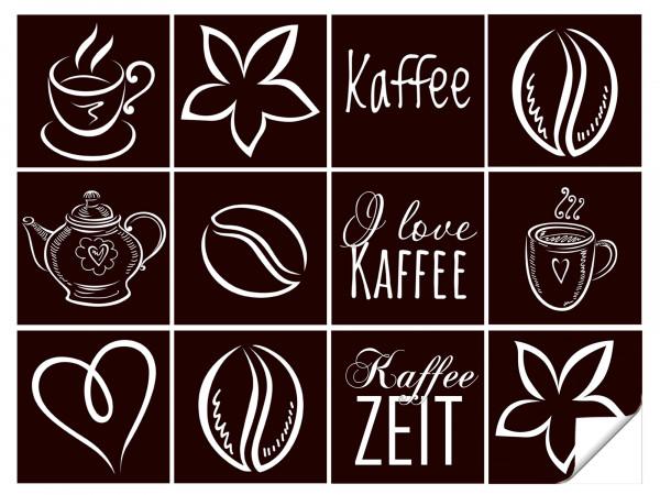 Fliesenaufkleber Kaffee Motive für Küche in Braun - 12 Stück
