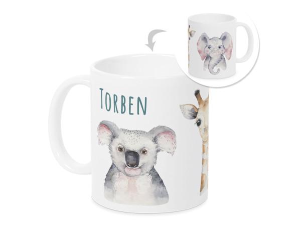 Tasse mit Namen Kinder, personalisiertes Geschenk Weihnachten Geburtstag, als Geschenkidee, Becher, Tiere