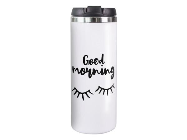 Thermobecher Kaffeebecher Wimpern, Good Morning