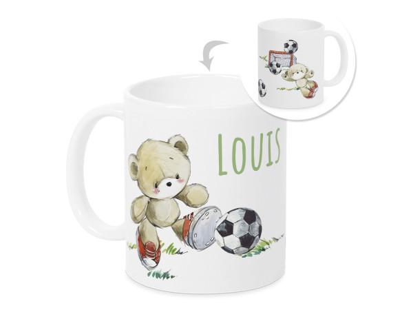 Tasse mit Namen Kinder Füßball, personalisiertes Geschenk Weihnachten Geburtstag, als Geschenkidee, Becher,