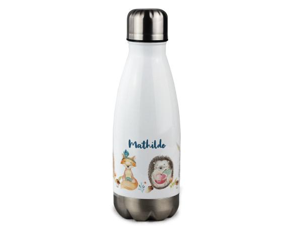 Trinkflasche personalisiert mit Namen Waldtiere