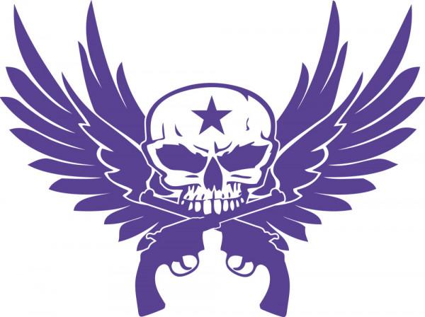 Wandtattoo Wandaufkleber Totenkopf mit Stern Pistolen und Flügel