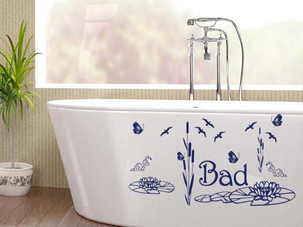 Wandtattoo Set für Badezimmer Bad Vögel Seerosen Schilf