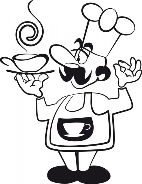 Wandtattoo Koch mit duftendem Kaffee für Deine Küche