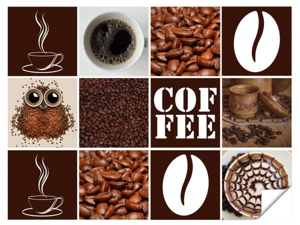 Fliesenaufkleber Küche Kaffee Motive mit Tassen - 12 Stück
