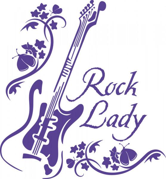 Wandtattoo Musik Rock Lady E-Gitarre Blumenranke und Schmetterling